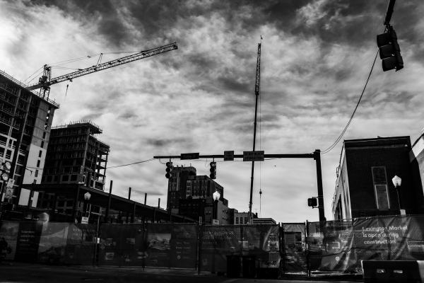 Cranes and new constructions in Lexington Market, Baltimore
