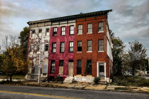 Three abandoned rowhouses