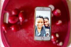 Portrait depicting Becky and Gilbert on iPhone