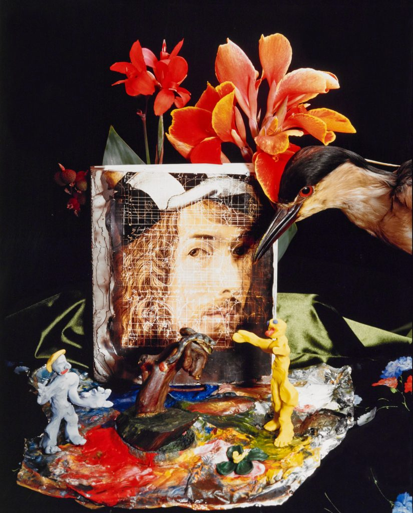 portrait with flowers and bird