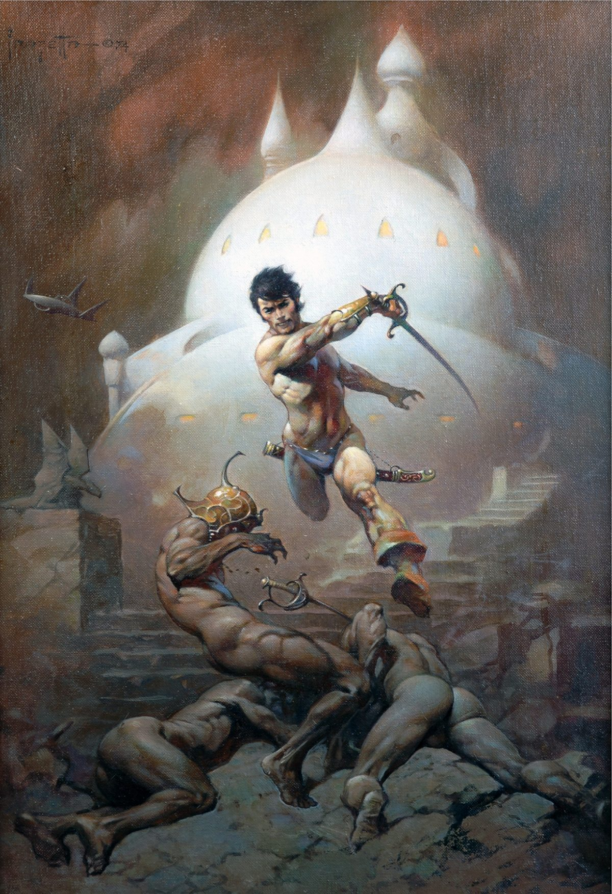 Frank Frazetta, Swords of Mars and Synthetic Men of Mars, 1966, Oil on canvasboard