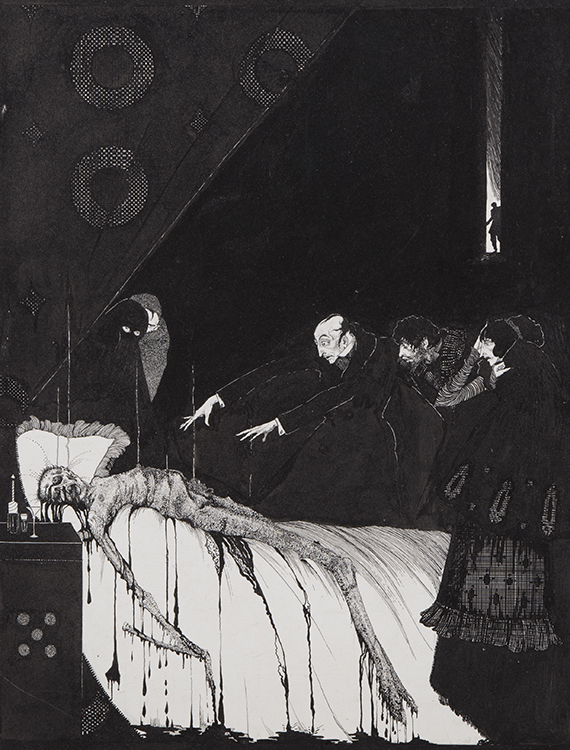 Harry Clarke, The Facts in the Case of M. Valdemar, 1919, Pen and ink