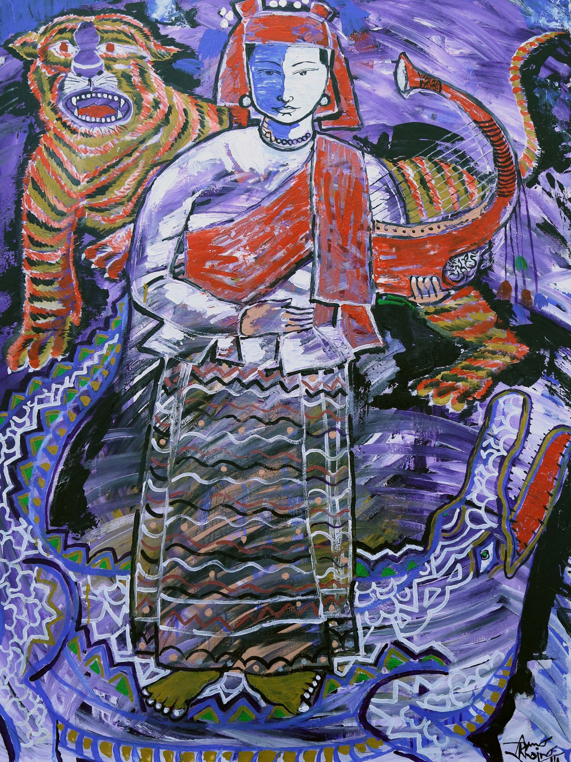 Painting of a woman with a tiger