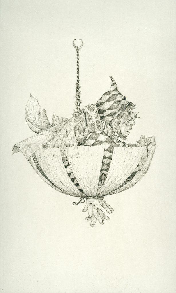 Etching titled The Myth by Charles Klabunde