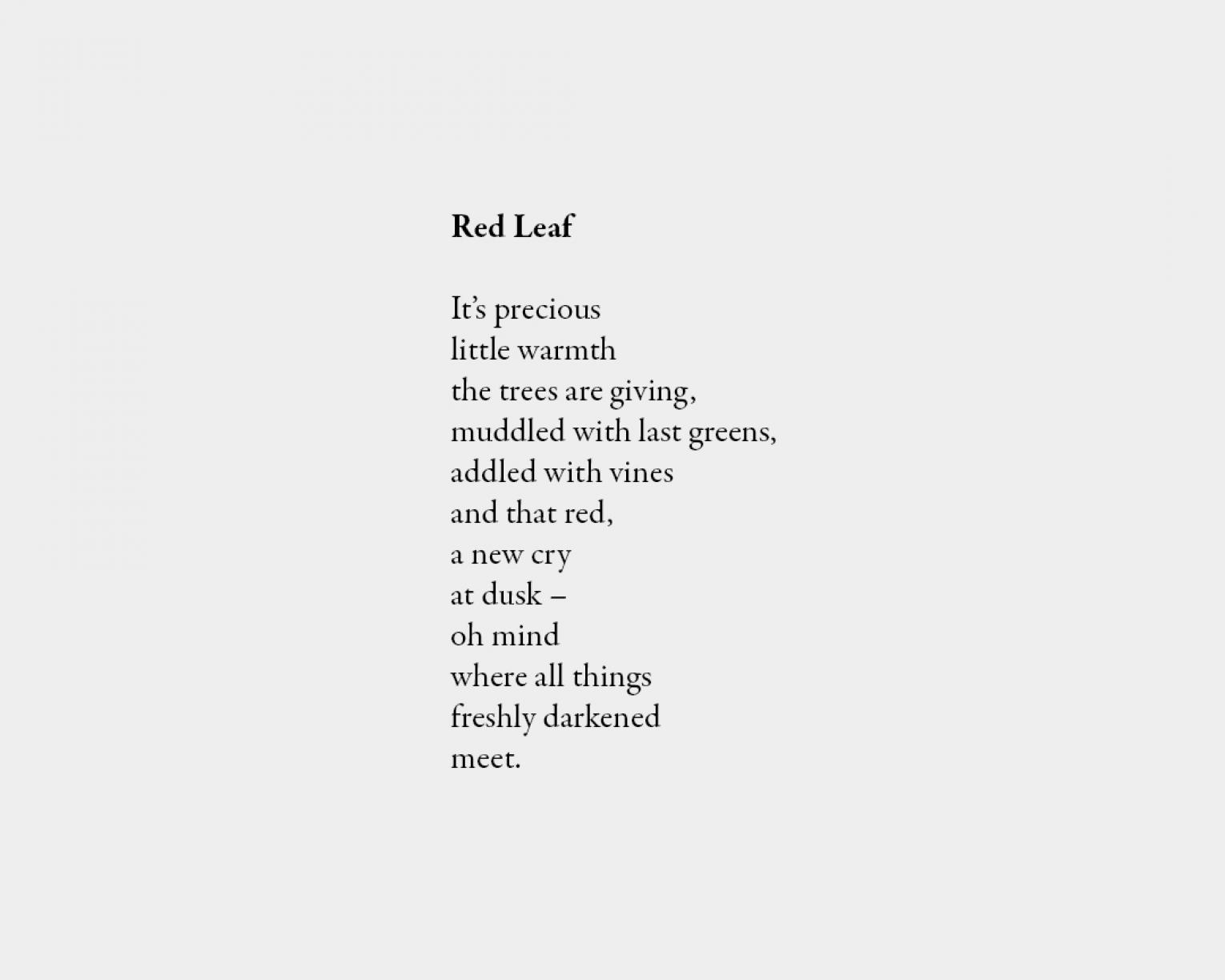 Poem: Red Leaf It's precious little warmth the trees are giving, muddled with last greens, addled with vines and that red, a new cry at dusk – oh mind where all things freshly darkened meet.