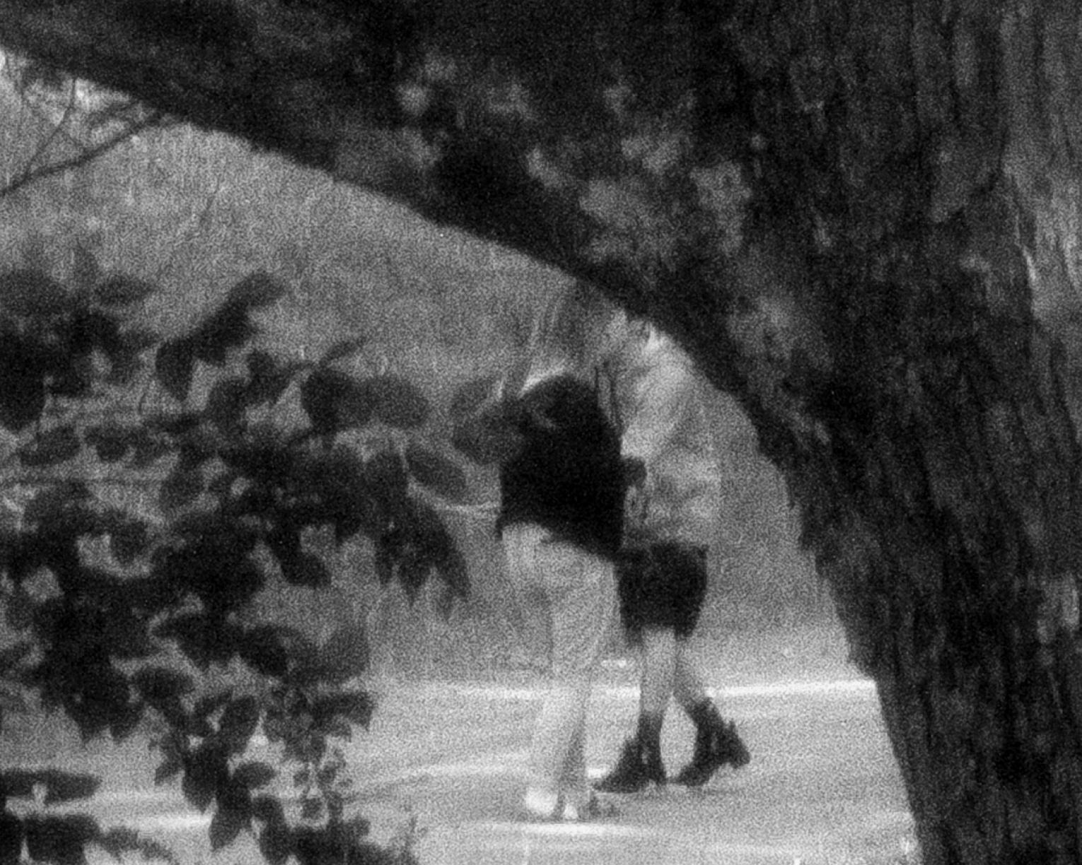 Black and white photo of couple kissing viewed through tree limbs